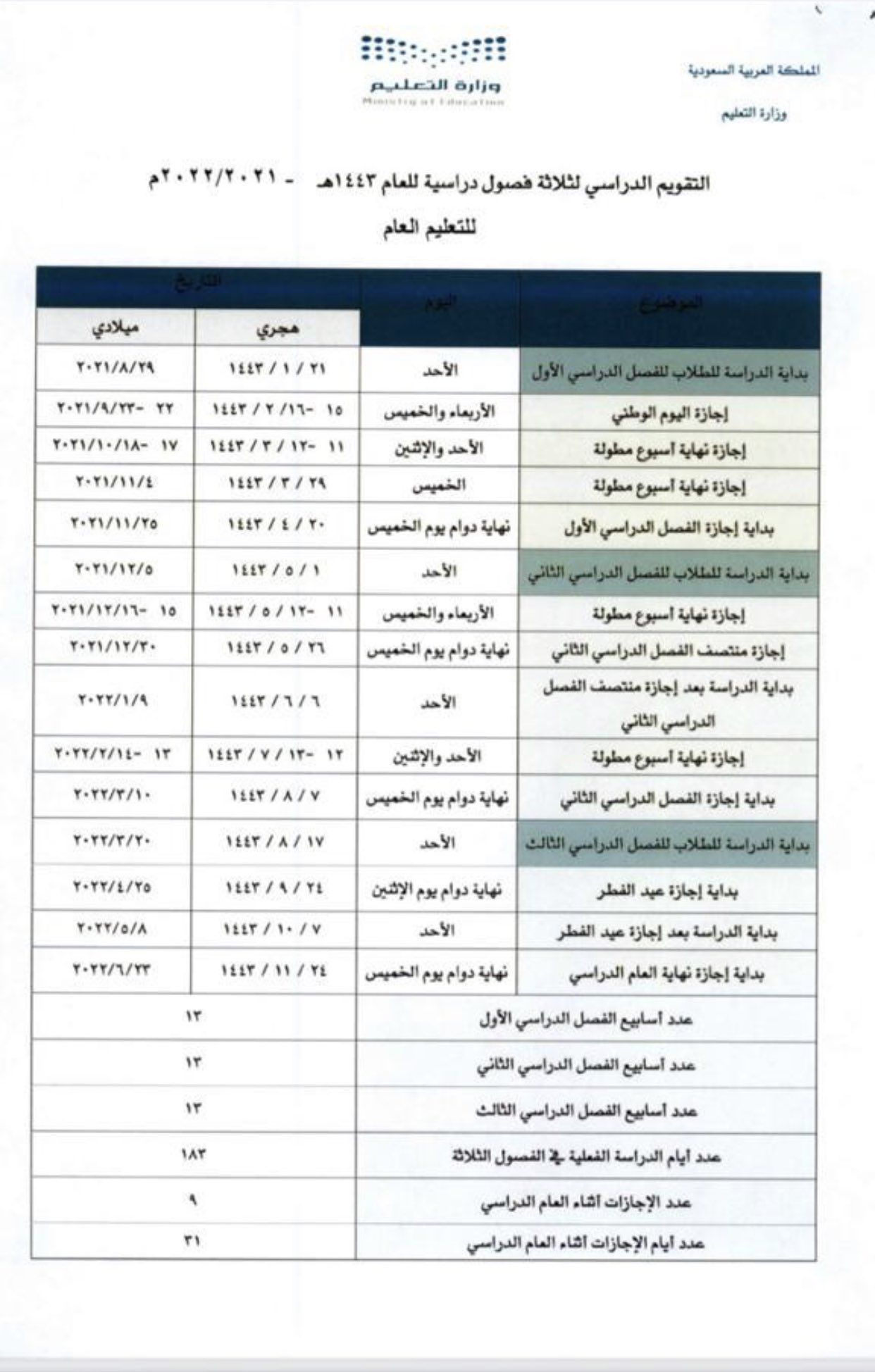 تقويم العام الدراسي الجديد 1443