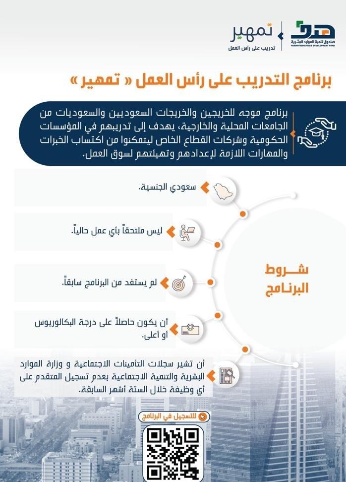 شروط التسجيل في برنامج تمهير صندوق تنمية الموارد البشرية